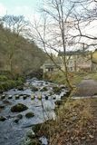 Hardcastle Crags, West Yorskhire. The river and mill in the woods at Hardcastle Crags Royalty Free Stock Photo