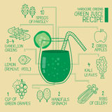 Hardcore greens, green juice recipes great  detoxify Royalty Free Stock Images