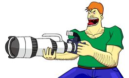 Hardcore kameraman och toppen zoom för dslr Arkivbilder