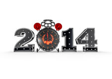 Hardcore new year 2014. 3D render of heavy metal themed alarm clock and numbers forming year 2014 Stock Image