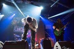 Hardcore punk concert. BONTIDA, ROMANIA - JULY 22, 2018: Canadian hardcore punk band from Toronto, Cancer Bats rocking live at Electric Castle festival Stock Image
