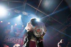 Hardcore punk concert. BONTIDA, ROMANIA - JULY 22, 2018: Canadian hardcore punk band from Toronto, Cancer Bats rocking live at Electric Castle festival Stock Photo