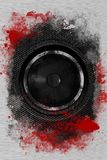 Hardcore Rock. Bass Speaker. Cool Grunge Black Bass Speaker with Damaged Metal Sheets and Red Paint. Cool Background for Your Music Event Posters, Flyers and Stock Images