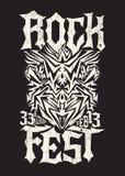 Hardcore Rock fest poster design template. Metal festival monochrome label - eps available Royalty Free Stock Photos