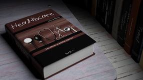 Hardcover book on Healthcare with illustration on cover Royalty Free Stock Image