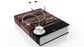 Hardcover book on Healthcare and stethoscope Royalty Free Stock Photo