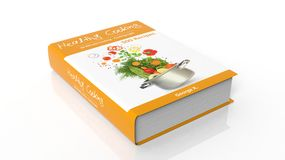 Hardcover book Healthy Cooking with illustration on cover. Isolated on white background Royalty Free Stock Photo