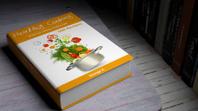 Hardcover book on Healthy Cooking with illustration on cover Royalty Free Stock Images