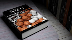 Hardcover book About Sports with illustration on cover Stock Images