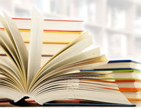 Hardcover books in the library Stock Photo