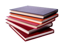 Hardcover books stack isolated on white royalty free stock photo