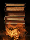 Hardcover books with swirling smoke Stock Images