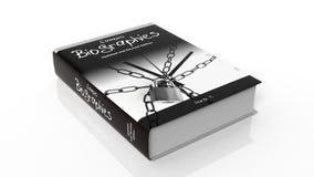 Hardcoverboek op Beroemde Biografieën met illustratie op dekking Stock Afbeelding