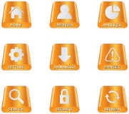 Harddisc Icons. Colored harddisc icon set for web design Stock Image