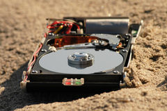 harddisc na plaży Obrazy Stock