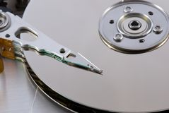 Harddisk 12. Open harddisk and heads close-up Stock Photos