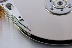 Harddisk 14. Open harddisk and heads close-up Royalty Free Stock Photos