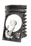 Harddisk drives isolate on white background. Stack of harddisk drives whith opened harddisk. Isolate on white background Stock Photos