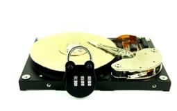 Harddisk with lock on white background Royalty Free Stock Photo