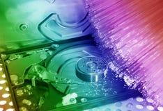 Harddisk med optisk bakgrund för fiber Royaltyfri Bild