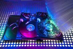 Harddisk på med optisk fiber Arkivbilder