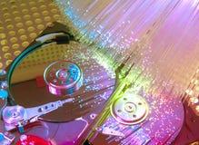 Harddisk på med optisk fiber Arkivfoto