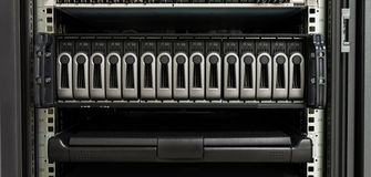 Harddisk rack and computer control Royalty Free Stock Photos