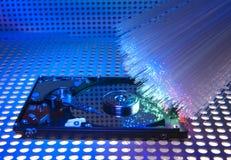 Harddisk som isoleras på med optisk fiber Arkivbilder