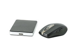 HardDisk and wireless mouse on isolated background Stock Images