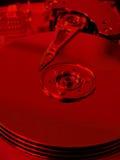 Harddrive interior (filtro rojo) foto de archivo
