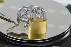 Harddrive with padlock Royalty Free Stock Photography
