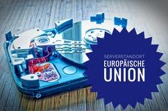 Harde Aandrijving 3 5 duim als gegevensopslag met motherboard en in de Duitse Unie van Serverstandort Europäische in Engelse ser Stock Afbeelding