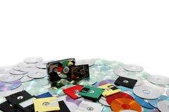 Harde aandrijving, floppy disk, en CD-rom Stock Afbeelding