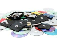 Harde aandrijving, floppy disk, en CD-rom Stock Foto
