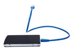 Harde aandrijving met kabel USB Stock Afbeeldingen