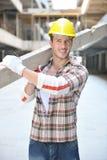 Harde arbeider op bouwwerf Stock Foto's