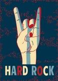 Harde rots modieus malplaatje op een blauwe achtergrond Stock Foto