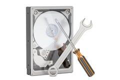 Harde schijfaandrijving HDD met hulpmiddelen Reparatie en terugwinnings 3D concept, Royalty-vrije Stock Fotografie