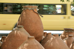 Harden clay pot showing for sale Stock Image