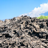 Hardened lava flow after volcano Etna eruption Stock Photos