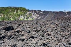 Hardened lava on volcano slope of Etna, Sicily Stock Photography