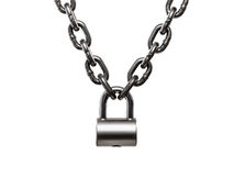 Hardened steel cargo lifting metal chain locked on padlock Stock Photography