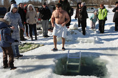 Hardening in the ice-hole. Russia. Tomsk. Tomsk Club Walrus. Hardening in the ice-hole Stock Photos