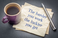 The harder you work, the luckier ... Royalty Free Stock Image