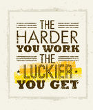 The Harder You Work The Luckier You Get Motivation Quote. Creative Vector Typography Concept on paper Background Royalty Free Stock Images