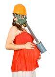 hardhat αερίου γυναίκα μασκών Στοκ φωτογραφίες με δικαίωμα ελεύθερης χρήσης
