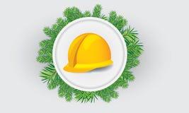Hardhat κατασκευής με το θέμα Χριστουγέννων Στοκ Εικόνα