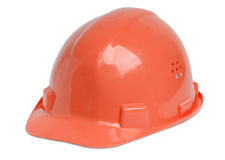 Hardhat. Isolated red hardhat for architect, building worker or craftsperson Royalty Free Stock Photography