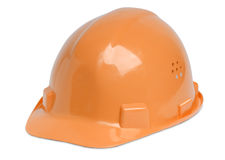 Hardhat. Isolated orange hardhat for architect, building worker or craftsperson Royalty Free Stock Photo