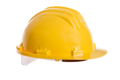 Hardhat. A bright yellow safety hardhat from a construction site Royalty Free Stock Photos